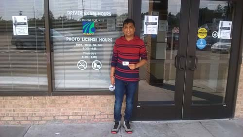 Poonam gets his license on the first try with a perfect score.
