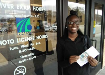 Teonia gets her license on her first try with a perfect score!