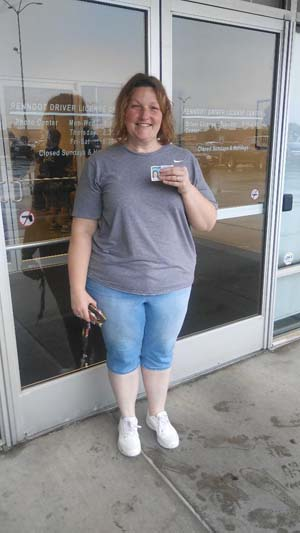 Amy gets her license with a perfect score!