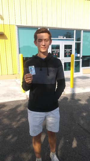 Seann gets his license with a perfect score!